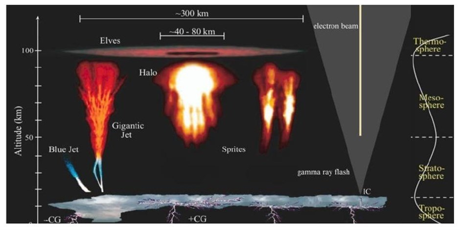 Different kinds of electrical discharge observed in the upper atmosphere